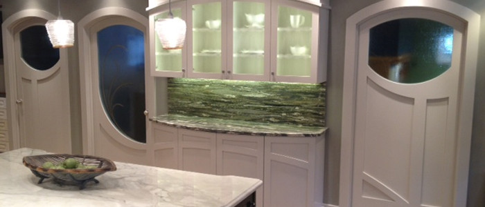 Grabill's custom kitchen cabinets in a modern update of Art Nouveau style