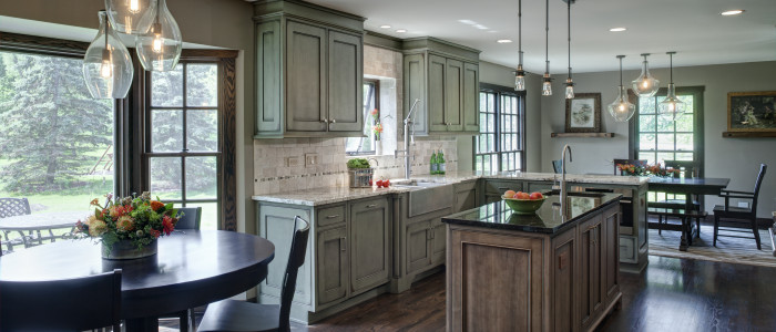 Grabill custom kitchen cabinets - Perimeter: Dawson Creek Villager; Island & Beverage Center: Newport Villager in maple