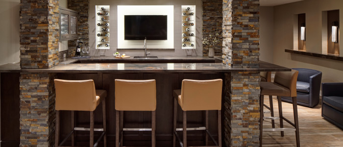 Contemporary Rustic Basement Remodel - Drury Design