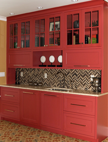 Grabill Kitchen Cabinet in Red