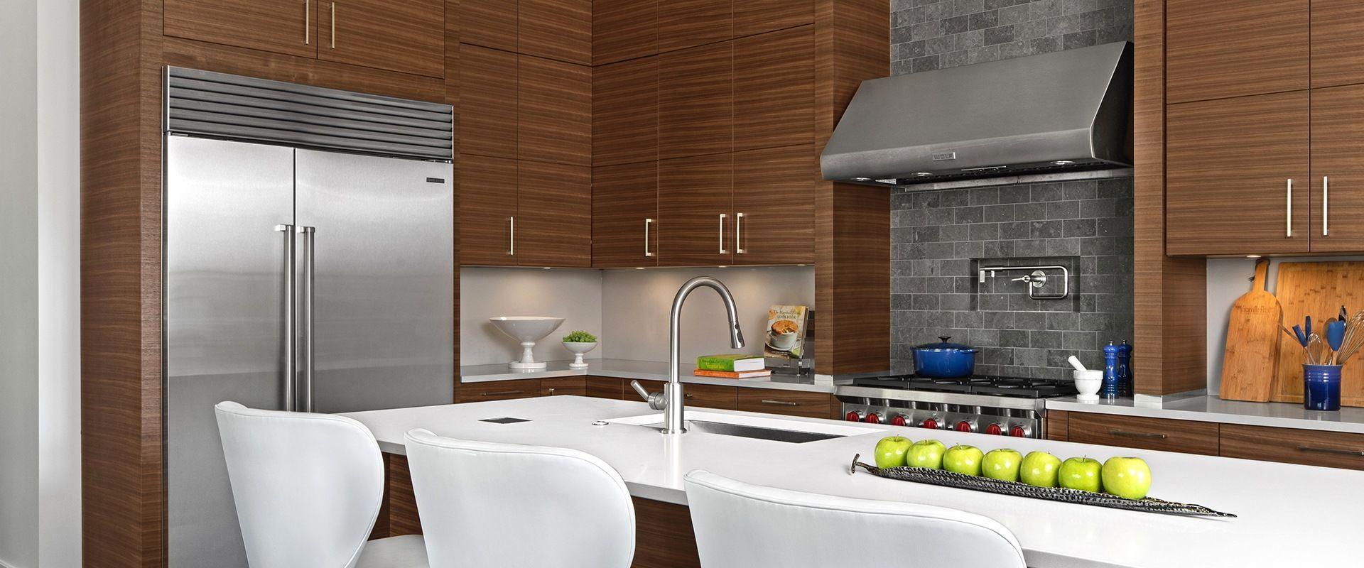 Contemporary Walnut Grabill Cabinets